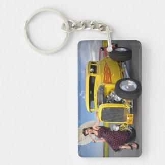 Porte-clés Le hot rod flambe le Pin vintage de voiture de