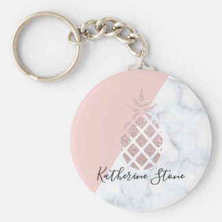 Porte-clés Le marbre blanc de parties scintillantes roses