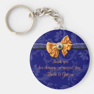 """Porte-clés Le mariage orange de bleu marine """"vous remercient"""""""