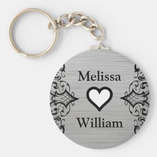 Porte-clés Le marié gris noir de jeune mariée appelle le