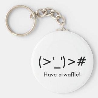 """Porte-clés """"(> ' _') le ># ont une gaufre !"""" Porte - clé"""