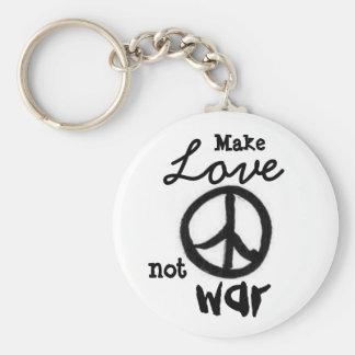 Porte-clés le paix-signe, font, aiment, pas, la guerre -