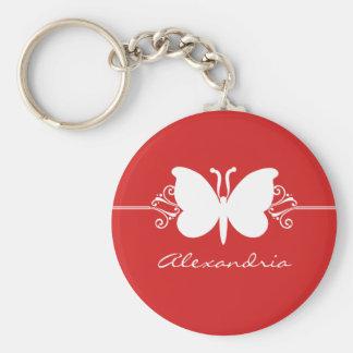Porte-clés Le papillon rouge foncé tourbillonne porte - clé