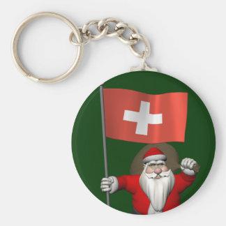 Porte-clés Le père noël avec le drapeau de la Suisse