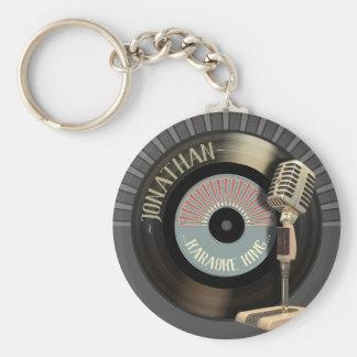 Porte-clés Le Roi drôle Retro Record de karaoke