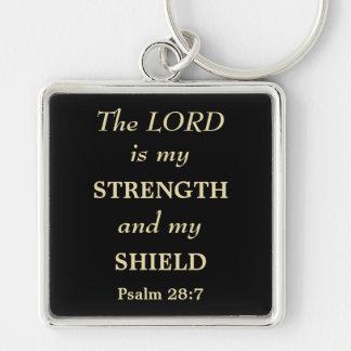 Porte-clés Le seigneur est mon chrétien d'or de bouclier