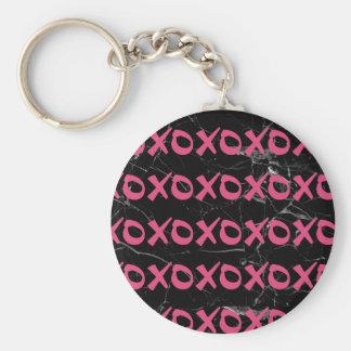 Porte-clés Le xoxo girly mignon de marbre de noir de roses