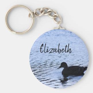 Porte-clés L'eau solitaire de faune de silhouette de canard