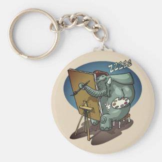 Porte-clés l'éléphant le peintre est bande dessinée drôle de