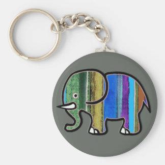 Porte-clés l'éléphant rayé mignon