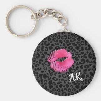 Porte-clés Léopard de noir de baiser de Lipgloss de roses