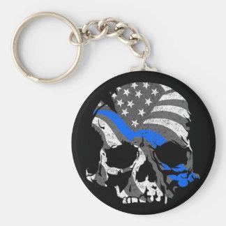 Porte-clés Les crânes américains amincissent Blue Line