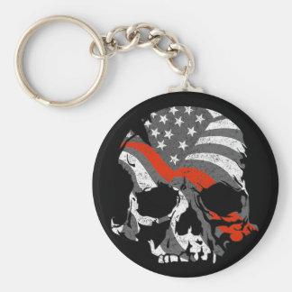 Porte-clés Les crânes américains amincissent la ligne rouge