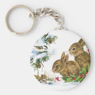 Porte-clés Les lapins et l'oiseau apprécient la neige
