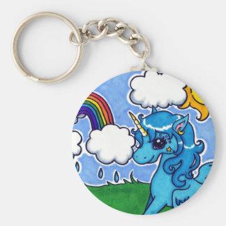 Porte-clés Licorne bleue volante avec l'arc-en-ciel