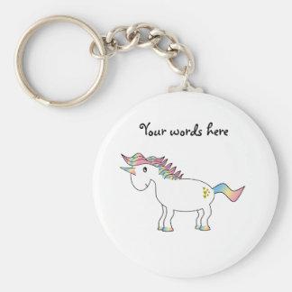 Porte-clés Licorne d'arc-en-ciel avec des coeurs d'or
