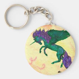 Porte-clés Licorne verte Pegasus Pegacorn de poney de cheval