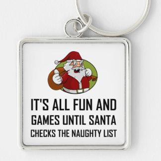 Porte-clés Liste vilaine de contrôles de Père Noël