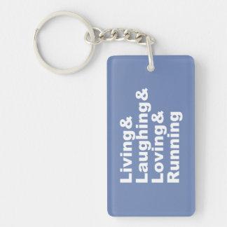 Porte-clés Living&Laughing&Loving&RUNNING (blanc)