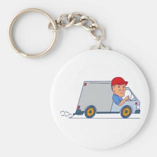 Porte-clés Livreur conduisant Truck Van Cartoon