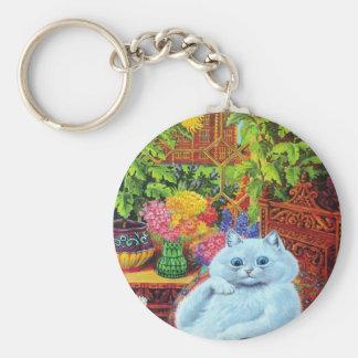 Porte-clés LOUIS WAIN - Chat blanc dans l'étude de jardin