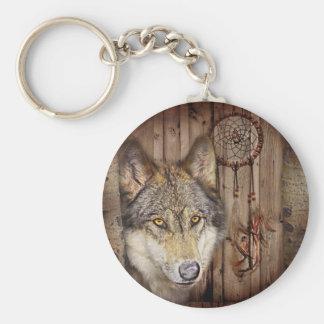 Porte-clés Loup indien indigène de receveur rêveur occidental