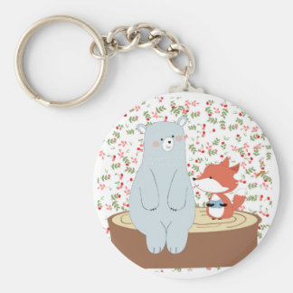 Porte-clés Loup mignon vintage de renard d'été de ressort et