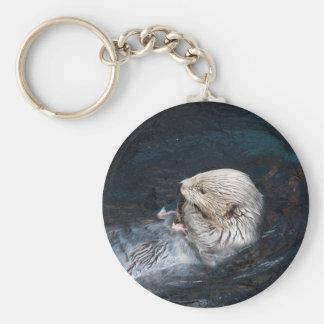 Porte-clés Loutre mangeant le zoo sauvage aquatique de nature