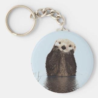 Porte-clés Loutre mignonne se tenant dans un étang tenant son