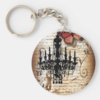 Porte-clés lustre de cru de Paris de papillon de goth de