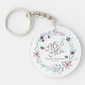 Porte-clés M. et Mme Floral Watercolor Wedding Keychain