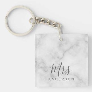 Porte-clés M. et Mme mariage moderne de marbre élégant de