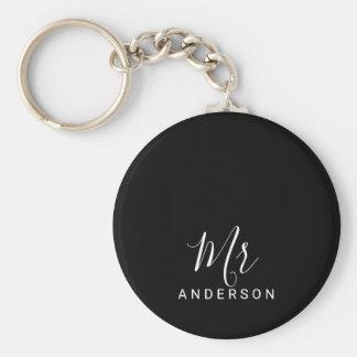 Porte-clés M. et Mme mariage moderne noir et blanc de