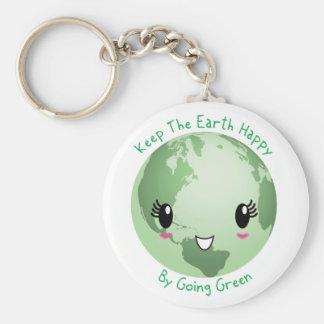 Porte-clés Maintenez la terre heureuse par vert allant