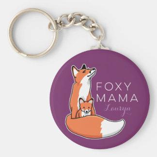 Porte-clés Maman rusée de Fox avec le bébé, personnalisé