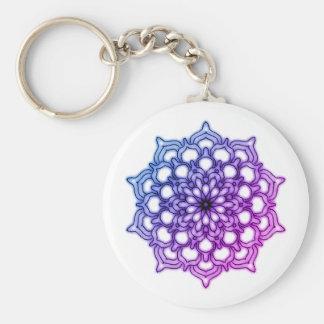 Porte-clés Mandala Fleur Bleue Mauve