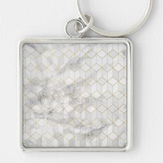 Porte-clés Marbre blanc avec le motif de cube en or