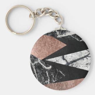 Porte-clés Marbre moderne élégant, or rose, et triangle noire