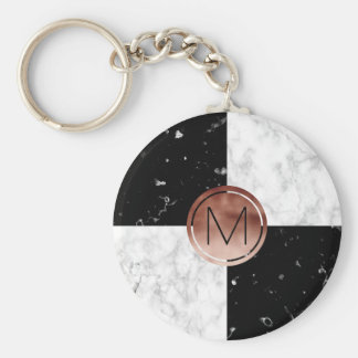 Porte-clés Marbre rose de blanc de noir d'or de monogramme