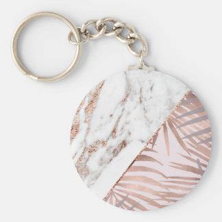 Porte-clés Marbre rose d'or et fougères tropicales
