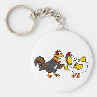 Porte-clés Mariage drôle de marié de jeune mariée et de coq