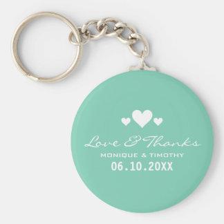 Porte-clés Merci turquoise doux de mariage d'amoureux