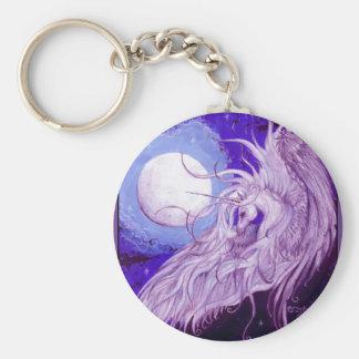 Porte-clés Mignon pourpre magique de lune de licorne de noir