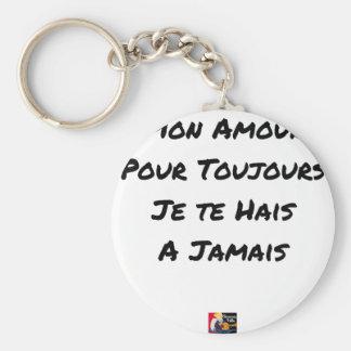 PORTE-CLÉS MON AMOUR, POUR TOUJOURS, JE TE HAIS, À JAMAIS