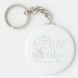 Porte-clés Mon aviateur le met dans le héros