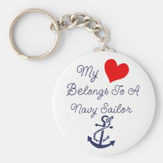 Porte-clés Mon coeur appartient à un marin de marine