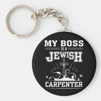 Porte-clés Mon patron est foi juive de Jésus de charpentier