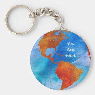 Porte-clés Monde d'aquarelle vous êtes ici