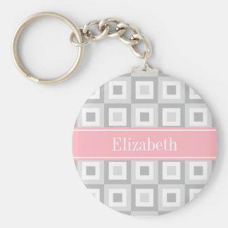 Porte-clés Monogramme 2 nommé rose carré concentrique blanc