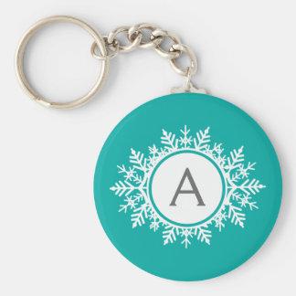 Porte-clés Monogramme blanc fleuri de flocon de neige sur